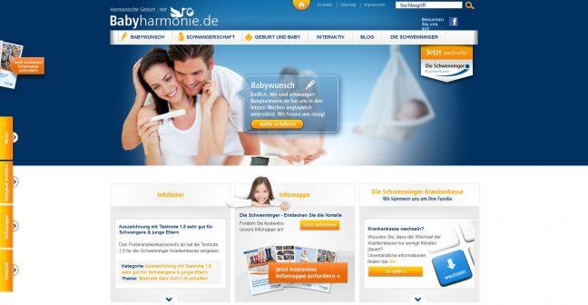 Content-Marketing Beispiel für Krankenkasse: babyharmonie.de