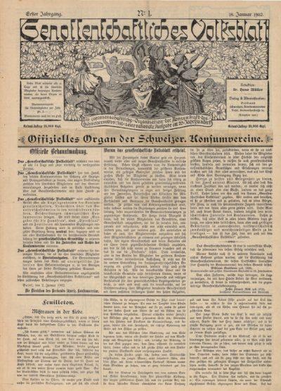 Die 1. Ausgabe des Genossenschaftliches Volksblatts von 1902.