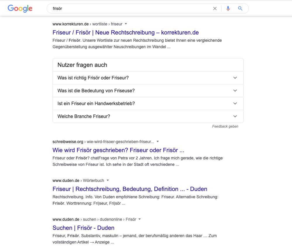 """Suchergebnisse zu """"Frisör"""": Hauptsächlich Themen zur Rechtschreibung"""